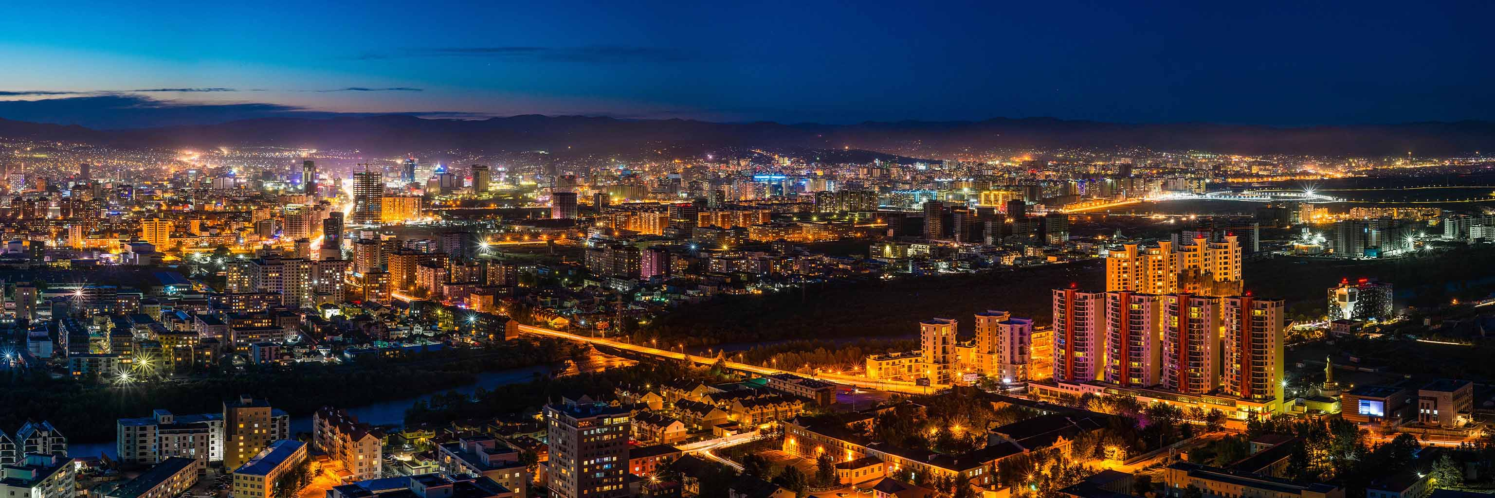 Night view of a city in Mongolia