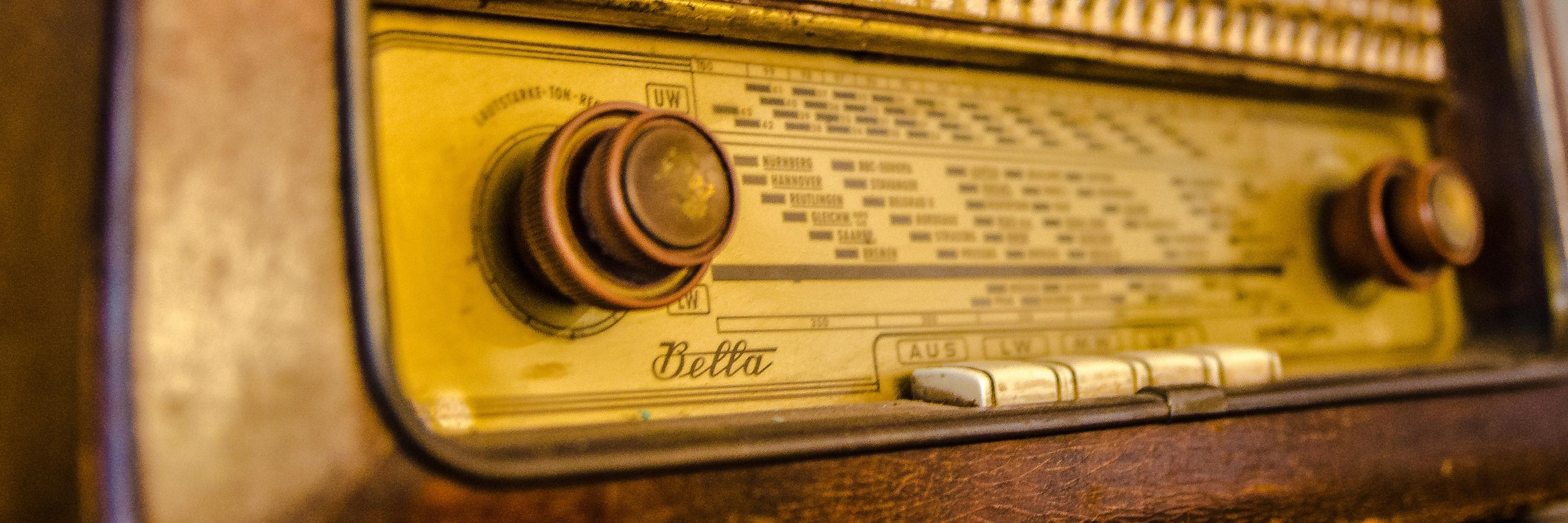 Close-up of an old radio
