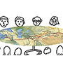 People around a map of Central Eurasia