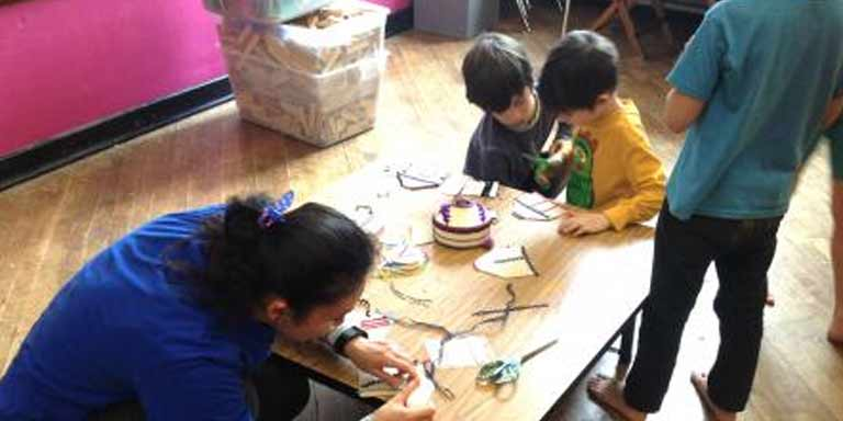 Making crafts with children